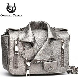 Handbags - Cowgirl Trendy Biker Jacket Purse Shoulderbag